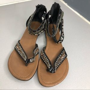 - - Paprika studded strapped thong sandals S…